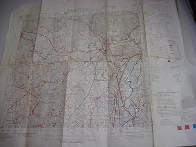 Italy Perugia WW2 origianl used British military map positions marked anotated