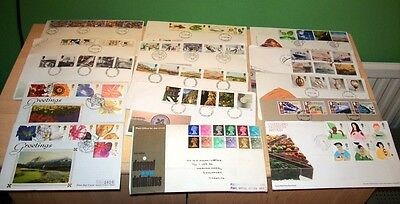26 Gb Uk British Commemorative First Day With Silk Covers Fdc Letters Stamps Exc