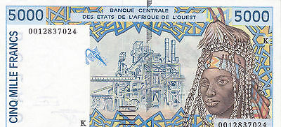 5000 Francs Extra Fine Banknote From Togo/west Africa 2002!pick-113