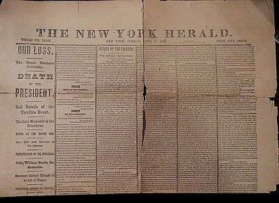 1865 Contemporary actual newspaper detailing asassination of Lincoln
