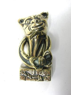 """Vintage lovely small ornate solid brass door knocker """"cheshire cat """""""