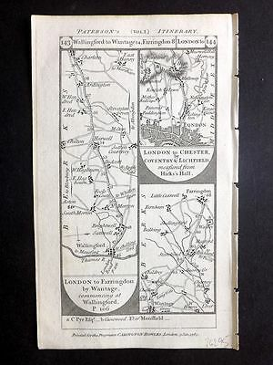 Paterson 1785 Road Map. Wallingford, Wantage, Farrington, London, Cirencester