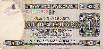 1 Dollar Foreign Exchange Note From 1979 Poland!!