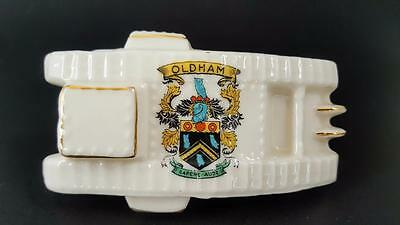 Arcadian Crested Ware China WW1 Tank With Inset Wheels - Oldham Crest c1916