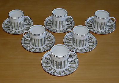 Six Immaculate Wedgwood China Susie Cooper Persia Coffee Cans & Saucers