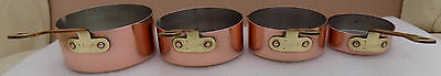 Vintage Tin Lined Set of 4 Copper Graduated Measuring Saucepans + Brass Handles