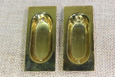 2 Flush Sash Lifts Recessed Pulls old pocket door gloss SOLID BRASS vintage