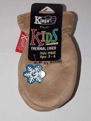 Toddler Child Size Sueded Synthetic Leather Chopper Mittens Kinco 1930 Ages 3-6