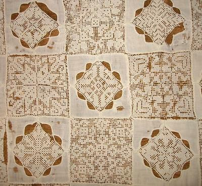BEAUTIFUL TIMEWORN FRAGMENT 19th CENTURY FINE LINEN LACE CUTWORK EMBROIDERY