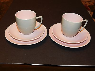 Two Branksome China Twin Tone Grey & Pink Trios Cup Saucer & Side Plate