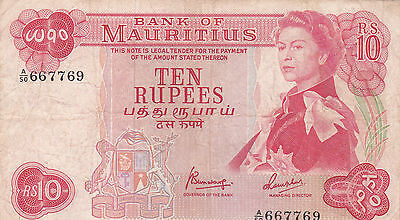 10 Rupees Fine Banknote From 1967 Mauritius!pick-31