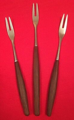 Trio Of Vintage Chromium Plate And Rosewood Cocktail Forks c.1960's