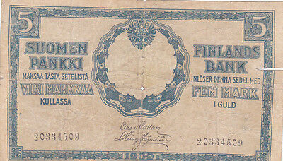 5 Markkaa Vg Banknote From Russian Occupied Finland 1909!