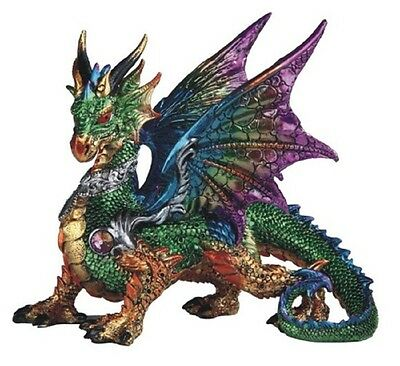 Green Multi Color Dragon Statue Figurine Mythical Fantasy Collectible Statuette