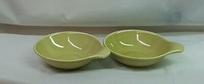 Two Russel Wright American Modern by Steubenville Chartreuse Lugged Soup Bowls