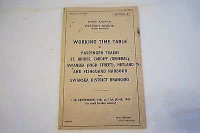 Working Timetable Western Region 1961 St Brides Cardiff Neyland Section F