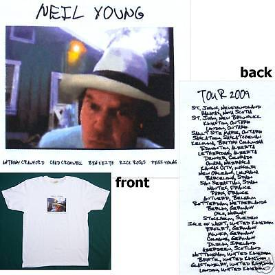Neil Young! Photo Pic World Tour 2009 White Shirt S New