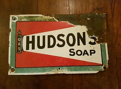 Original Hudson Soap Enamel Advertising Sign collectable rare not double sided