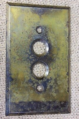 old single Push Button Switch cover Plate vintage tarnished brass .040 gauge