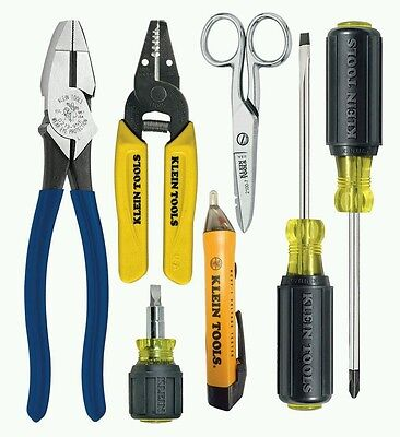 Klein Tools 7 pc Electricians Wiring and Testing Kit, Professional Lineman Plier