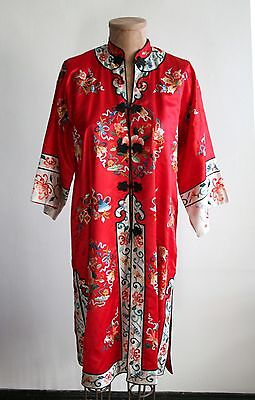 Chinese Vintage  Woman Silk Robe Jacket Embroidered Flowers Fish Red Medium