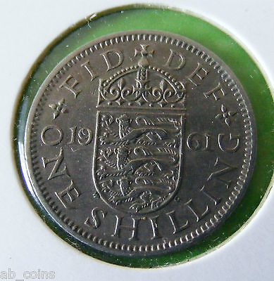 1961 British One Shilling Coin - English Reverse - Nice Example - Lot#5667