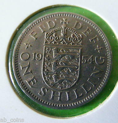 1954 British One Shilling Coin - English Reverse - Excellent Example - Lot#5661