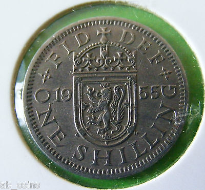 1955 British One Shilling Coin - Scottish Reverse - Nice Example - Lot#5663