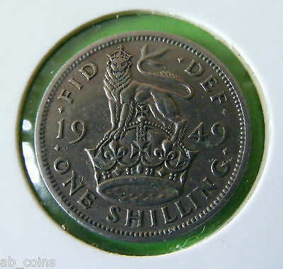 1949 British One Shilling Coin - English Reverse - Nice Example - #5658