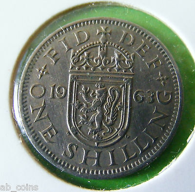 1963 British One Shilling Coin - Scottish Reverse - In Coin Holder - Lot#5668