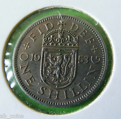 1953 British One Shilling Coin - Scottish Reverse - Nice Example - Lot#5660