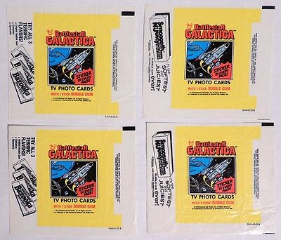 P108. Vintage: Lot of 4 BATTLESTAR GALACTICA TV Photo Card Wax Wrappers (1978) [