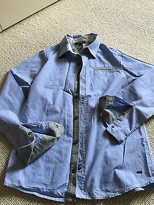 DKNY Boys Blue Shirt Aged 12 XS With Grey Trim. Worn Once Immaculate
