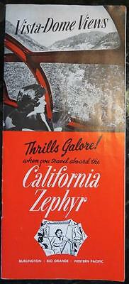 1950's California Zephyr Train Travel Brochure Timetable Pamphlet