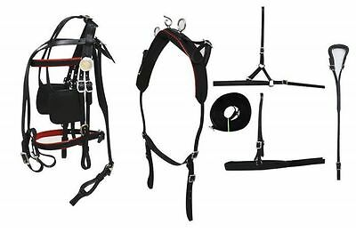 BLACK LEATHER  Small To Medium Pony Size Leather Driving Harness Set 3150