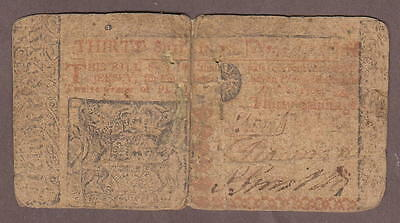 New Jersey Colonial Bank Note April 8, 1762 30 Shillings