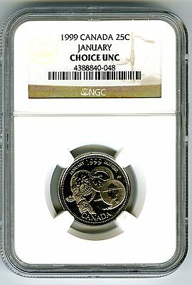 1999 Canada 25 Cent Ngc Choice Unc January - A Country Unfolds - Quarter Rare