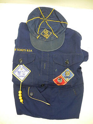 Old Vintage Used Cub Scout Uniform with Shirt, Pants and Cap