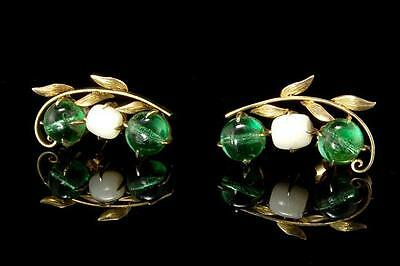 Antique Chinese Green Peking Glass Gilt Silver 14K Gold Earrings (020917046)