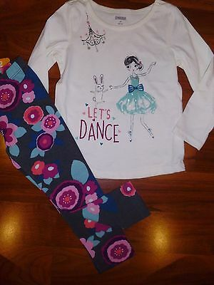 3 T Gymboree 2pc LETS DANCE Shirt Top Floral Gray Toddler Girl Outfit NWT