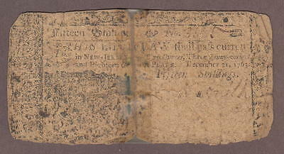 New Jersey December 31, 1763 Colonial Bank Note 15 Shillings