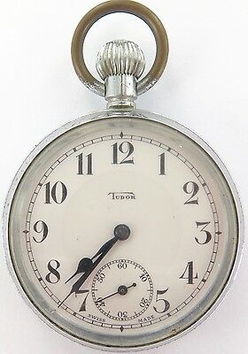 .rare Vintage 15J Tudor Pocket Watch, Working With Double Sunken Dial.