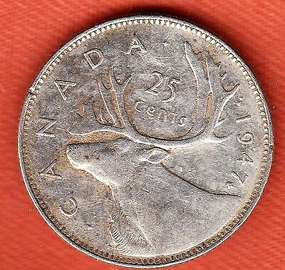 1947 Maple Leaf Canadian Silver 25 Cent ~ Very-Fine+ Condition!