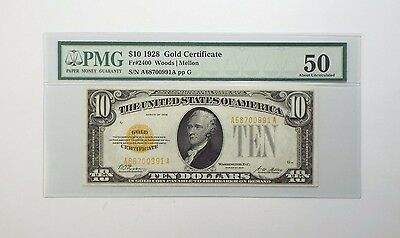 Series of 1928 $10 Gold Certificate Note PMG 50 About Uncirculated Fr#2400