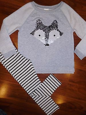 3 4 T Gymboree 2pc Gray Sequin FOX Sweat Shirt Leggings Outfit Toddler Girl NWT