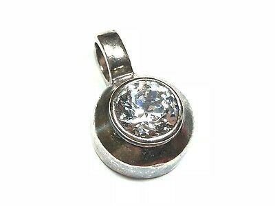 """.925 Sterling Silver Round CZ Stone Necklace Pendant w/ Patina - Signed """"OBOMA"""""""