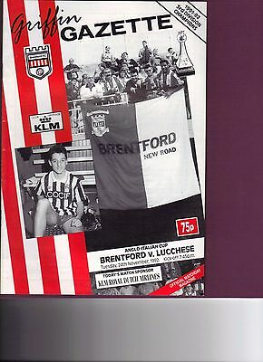 Brentford v Lucchese Anglo-Italian Cup 1992/93