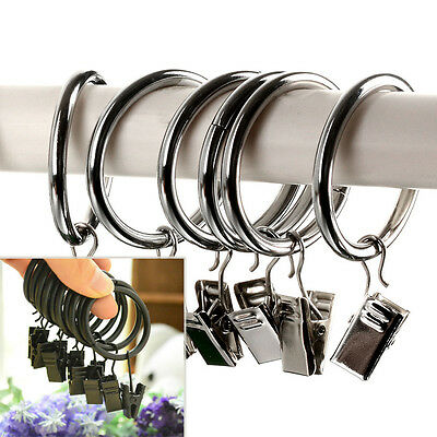 10x Stainless Steel Metal Curtain Rings with Clips Black and Sliver Hot Sell