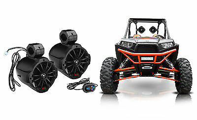 "(2) Boss 6.5"" 750w Powered Bluetooth Roll Cage Tower Speakers+Remote ATV/UTV/RZR"
