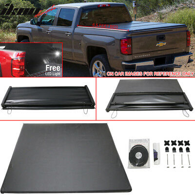 07-13 Chevy Silverado GMC Sierra 6.5 Feet Bed Tri-Fold Soft Tonneau Cover Black